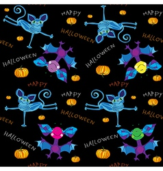Happy halloween kids pattern vector