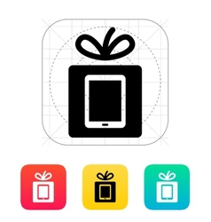 Gift tablet pc icon vector