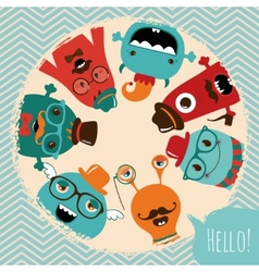 Hipster retro monsters card design vector