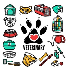 Veterinary icon set vector