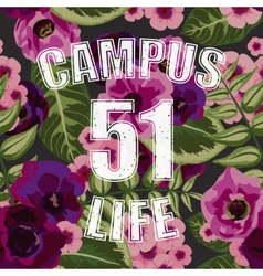 Flower tropical seamless pattern with campus life vector