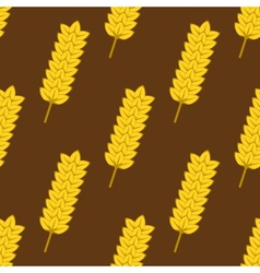 Seamless yellow ripe wheat spikes pattern vector