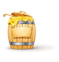Wooden barrel full of honey vector