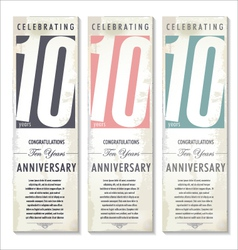 10 years anniversary retro banner set vector