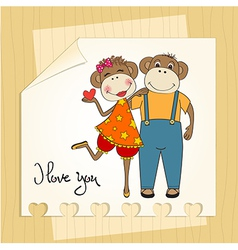 Monkeys couple in love vector
