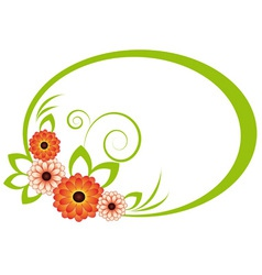 The oval frame with chrysanthemum vector