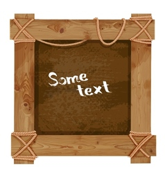 Wooden dark frame fastened together with ropes vector