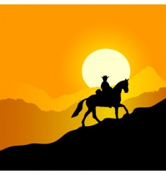 Horseman in mountains vector