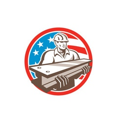 Construction steel worker i-beam usa flag circle vector
