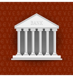 Bank building on background of symbols currency vector