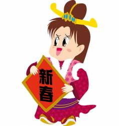 Chinese new year girl vector