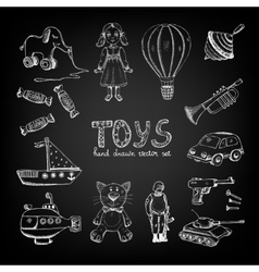 Chalkboard cartoon toys vector