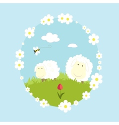 Landscape farm with sheeps and bee cartoon nature vector