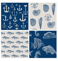 Fish and marine background set vector