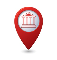 Museum icon red map pointer vector