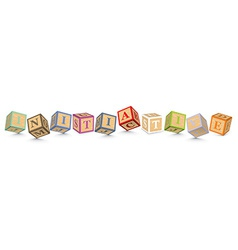 Word initiative written with alphabet blocks vector