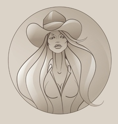 Cowgirl with flowing hair vector