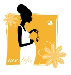 Silhouette of young pregnant woman with pacifier vector