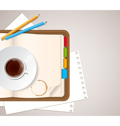 Notebook pencils and a cup of coffee vector
