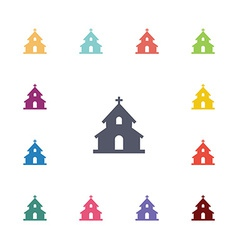 Church flat icons set vector