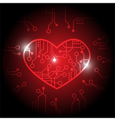 Red circuit heart background vector