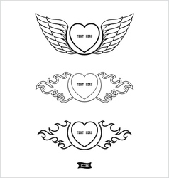 Love heart heraldic icon vector