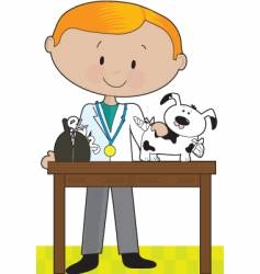 Vet and dog vector