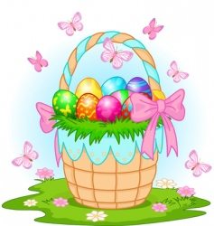 Easter basket with colorful eggs vector
