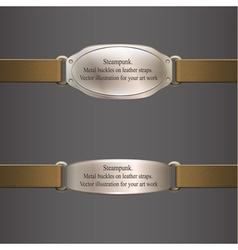 Metal banner on brown leather straps steampunk vector