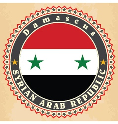 Vintage label cards of syria flag vector