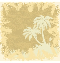 Tropical palms trees and leaves silhouettes vector
