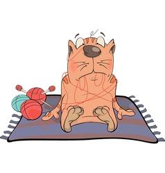 Cat and threads cartoon vector