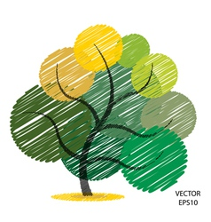 Color scribble tree symbol vector