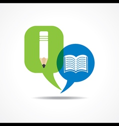 Pencil and book icon in message bubble vector