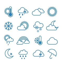 Set of outline weather icons vector