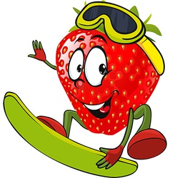 Red strawberry surfing - vector
