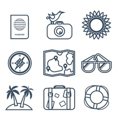 Icons of travel summer in the flat line style vector