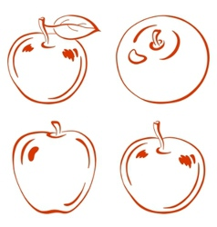 Fruits outline apples vector