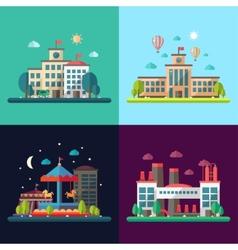 Set of modern flat design conceptual city vector