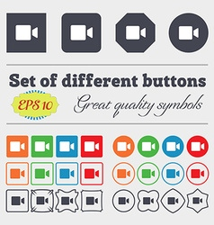 Video camera icon sign big set of colorful diverse vector