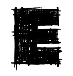 E - hand drawn character sketch font vector