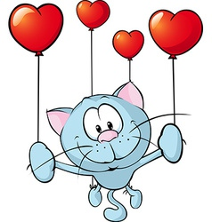 Funny blue cat flying with balloon - vector