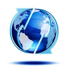 Blue globe with arrows vector