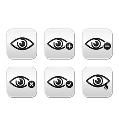 Eye sight buttons set - vector