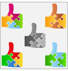 Puzzle thumbs up symbol vector