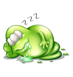 A greenslime monster sleeping vector