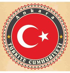 Vintage label cards of turkey flag vector