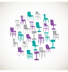 Colorful furniture icons - chairs vector