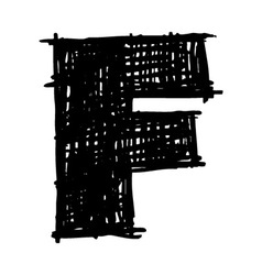 F - hand drawn character sketch font vector