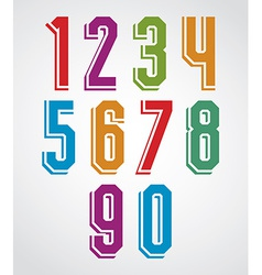 Retro numbers set geometric numerals typeface vector
